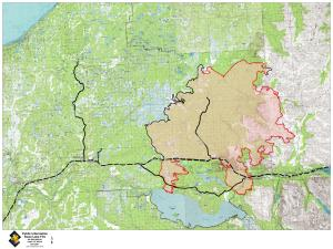 Swan Lake Fire Map - August 21, 2019