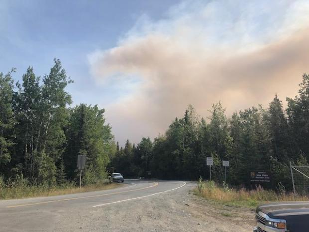 Smoke is seen from the West Entrance of the Skilak Wildlife Recreation Area