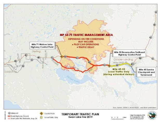 Map showing the traffic management area including mile posts, should traffic be delayed around the Swan Lake Fire.