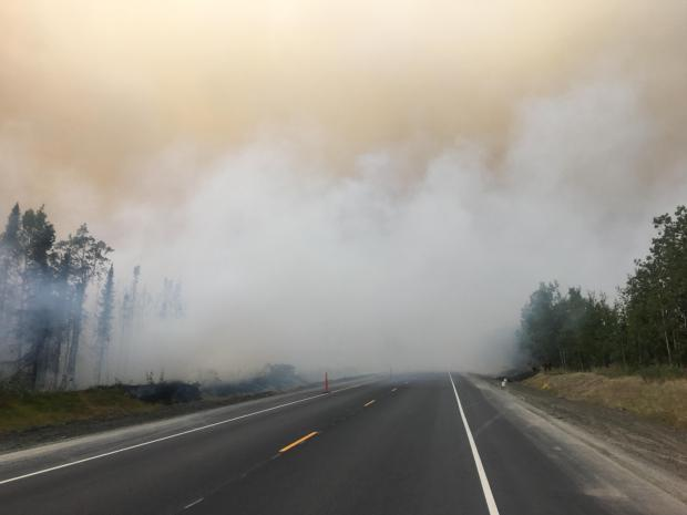 Smoke conditions on the Sterling Highway Sunday.