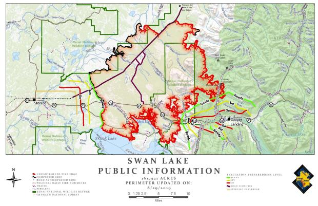 Map showing the Swan Lake Fire for August 29, 2019