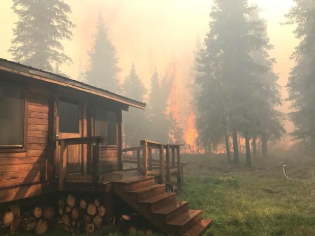 A log cabin is to the left of the photo with evergreen trees and flames in the background. A sprinkler is to the lower right of the photo.