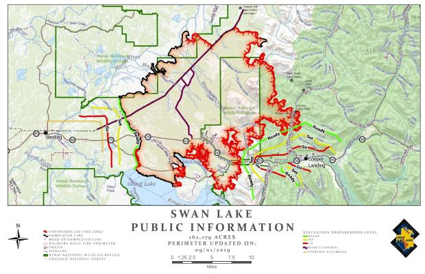 Swan Lake Fire Public Information Map - Sept. 1