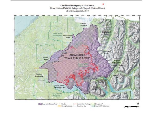 Swan Lake Fire Combined Area Closure Map