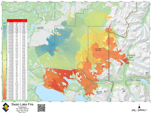 Swan Lake Progression Map updated from Sept. 3, not showing Sept. 4 current acreage.