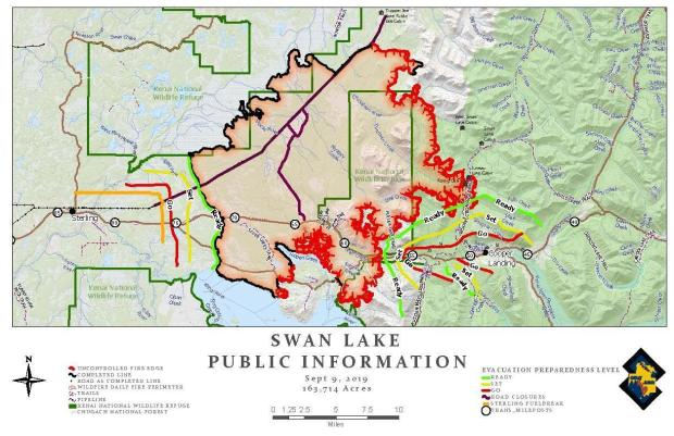 Swan Lake Fire Public Information Map - Sept 9