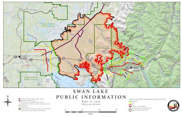 Swan Lake Fire Information Map Sept. 10, 2019