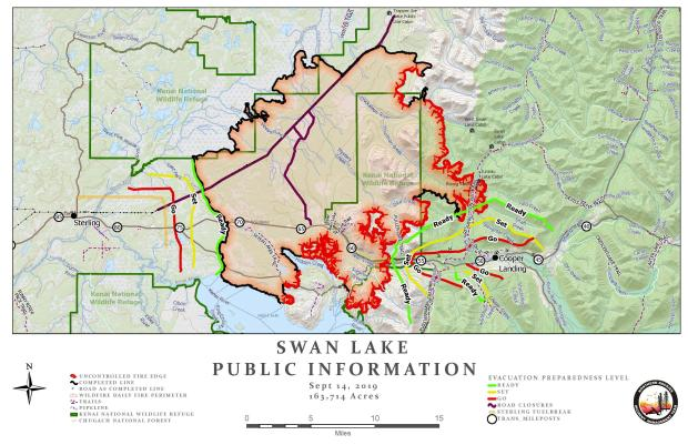 Swan Lake Fire Information Map - Sept. 14, 2019