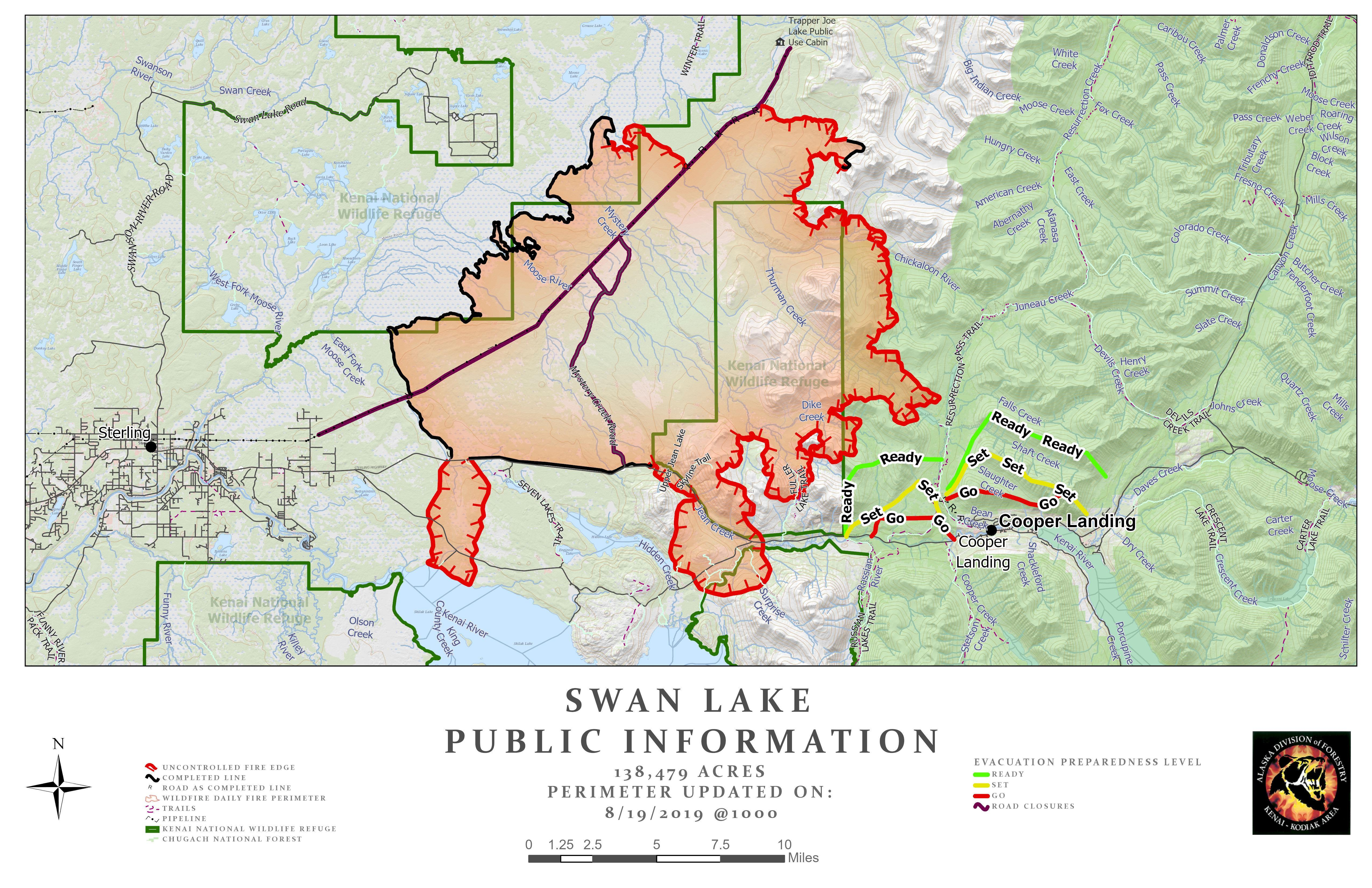 Swan Lake Fire Map - August 19, 2019