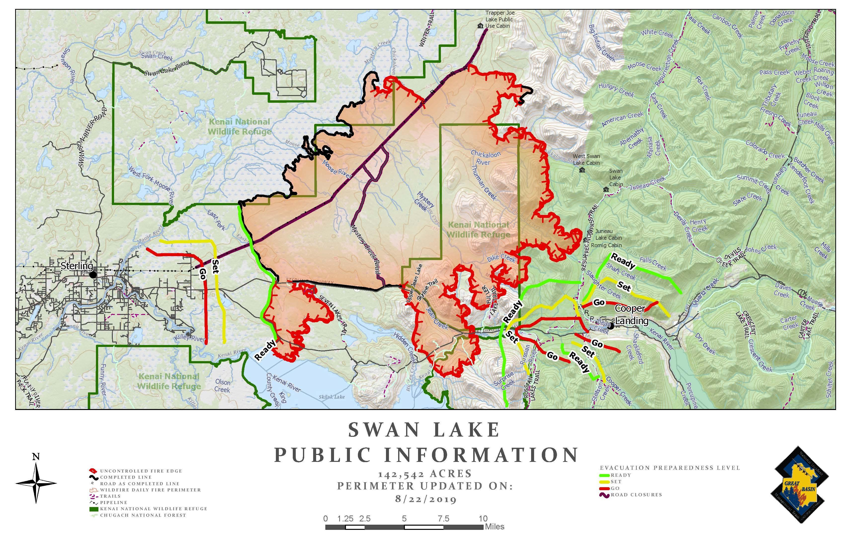 Swan Lake Fire Map - August 22, 2019