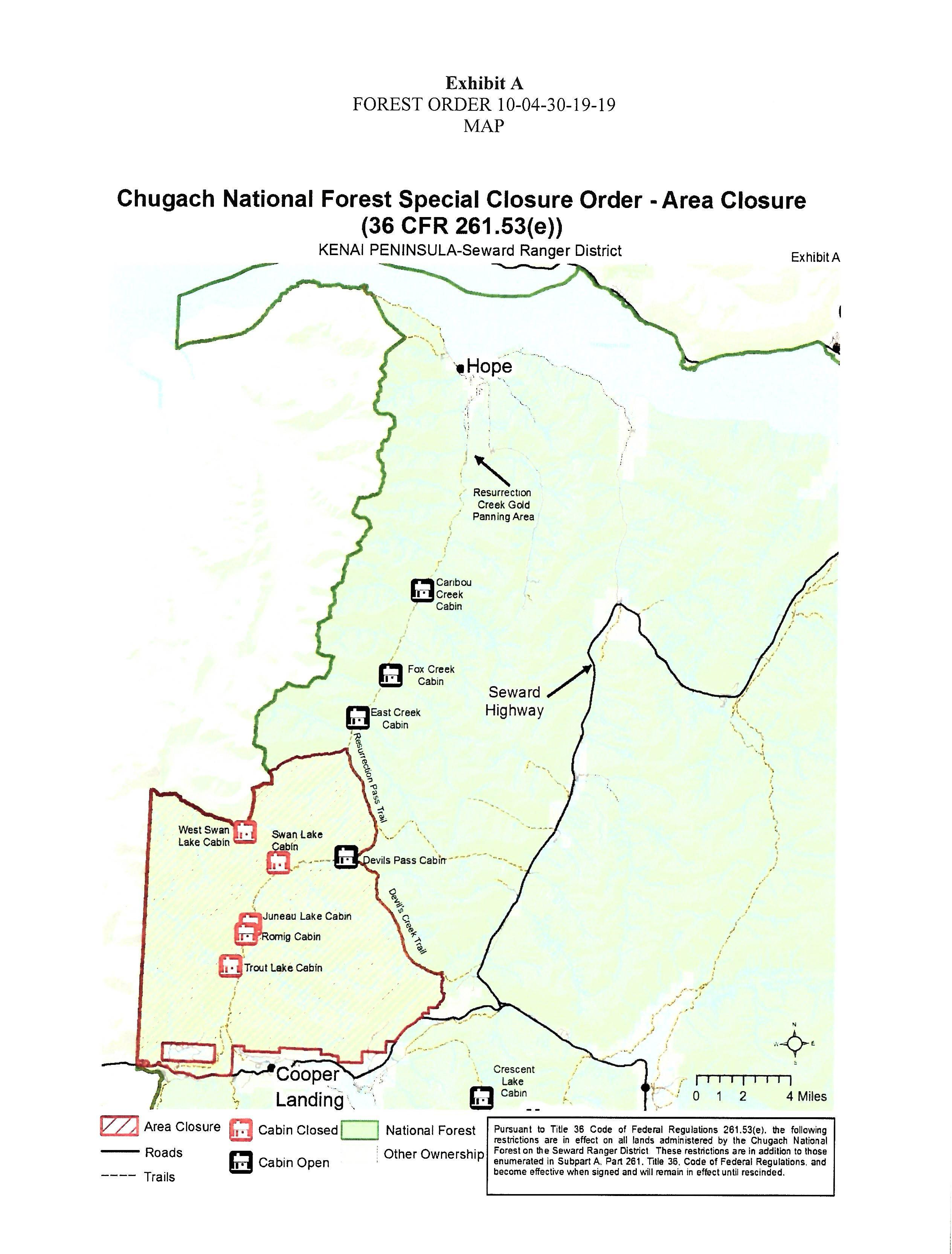 Chugach National Forest closure map.