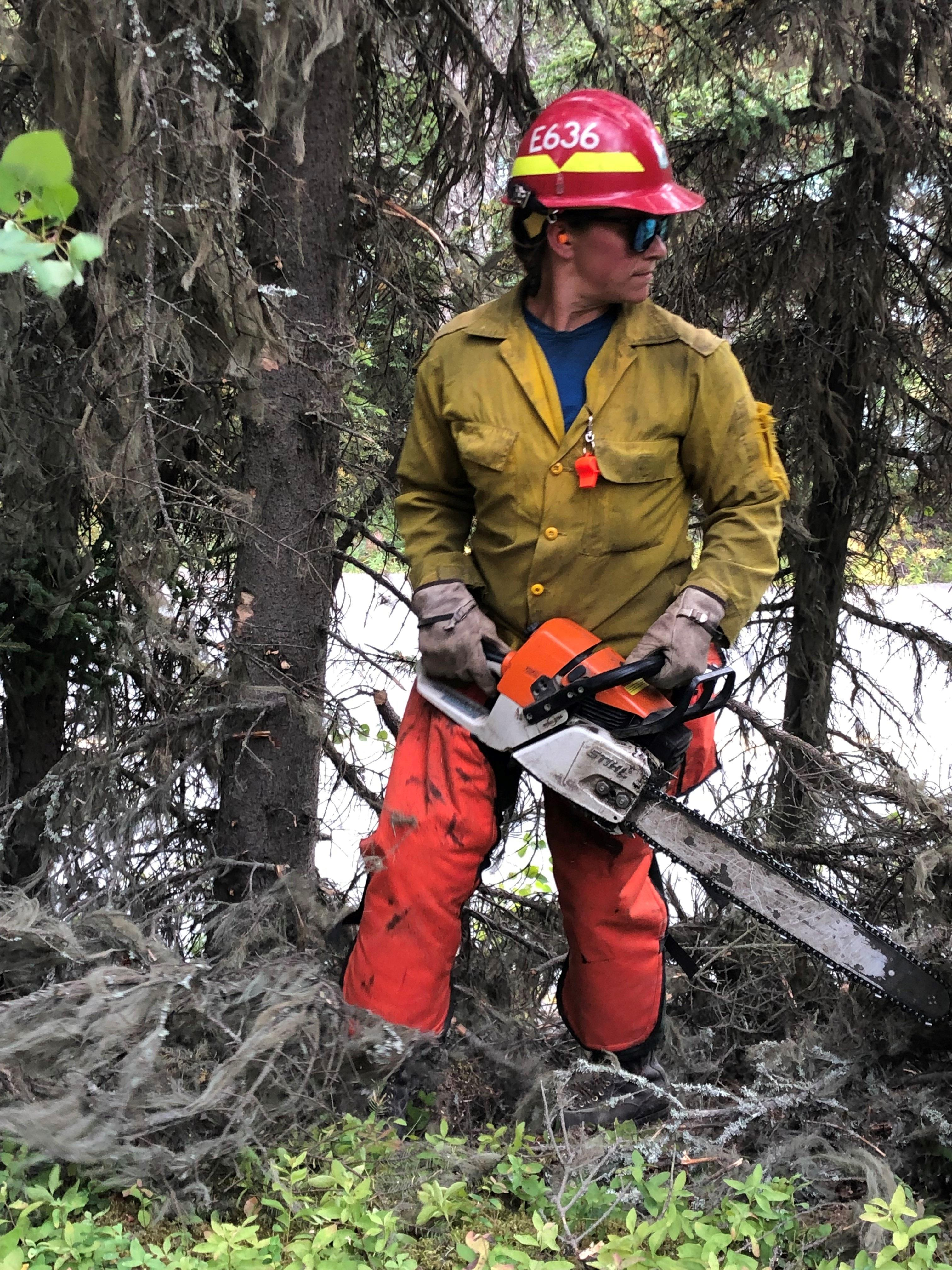 Sept. 1 - A firefighter in full protective gear is holding a chainsaw. She is pausing to determine where to go next as she has been limbing up trees to provide for increased defensible space around structures.