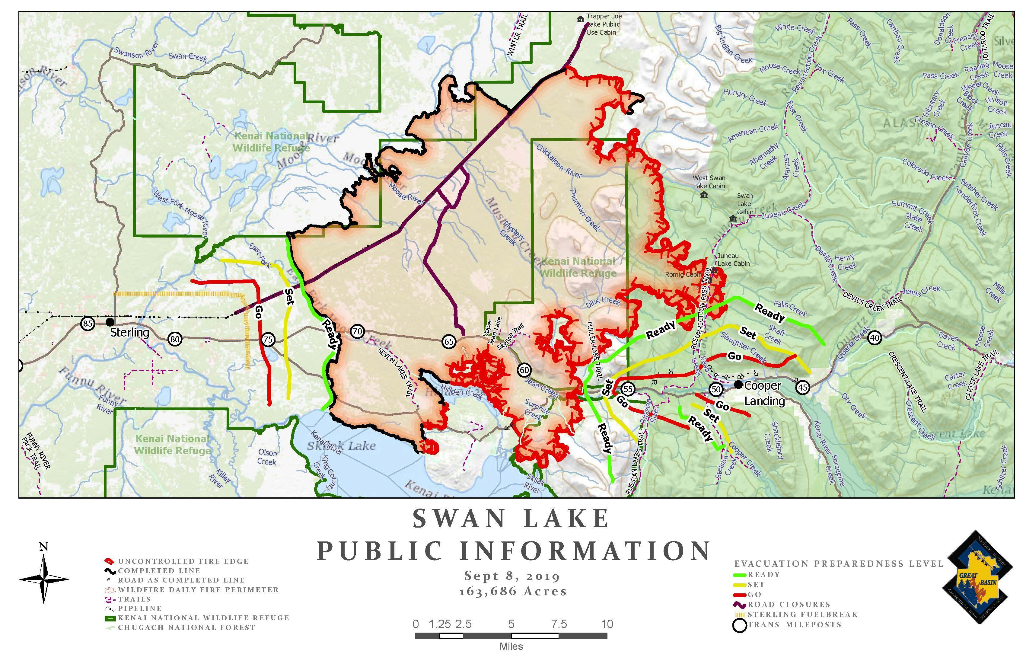 Swan Lake Fire Public Information Map - Sept. 8