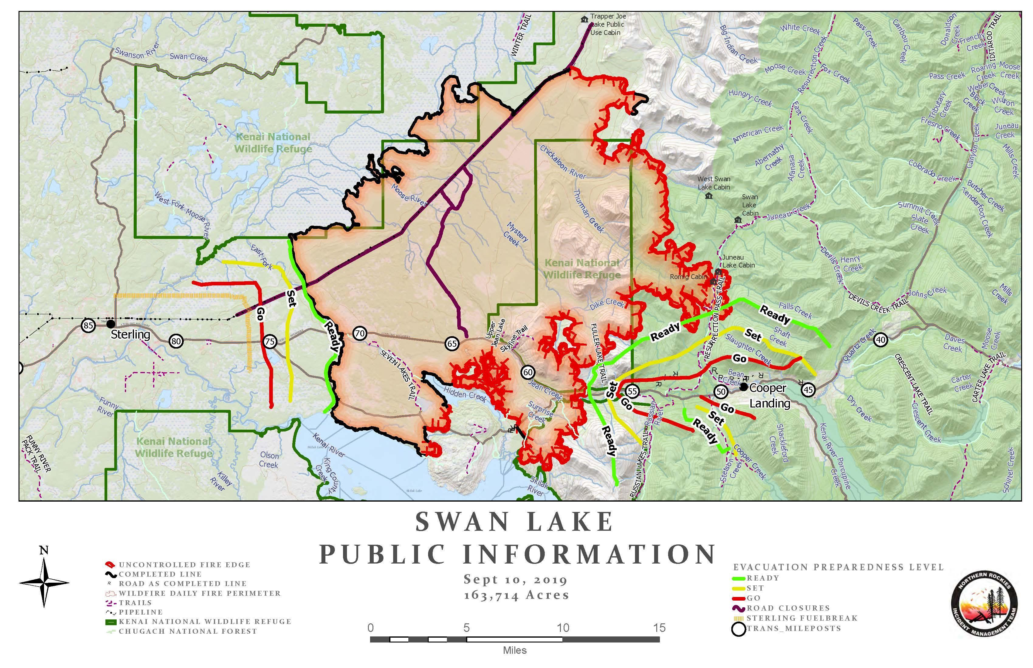 Swan Lake Fire Info Map - no changes from 9/10/19