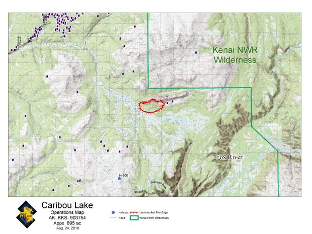 Caribou Lake Fire Map - August 24, 2019