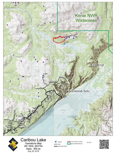 Caribou Lake Fire Map - August 26, 2019
