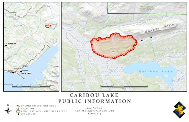 Caribou Lake Fire Map - August 27, 2019