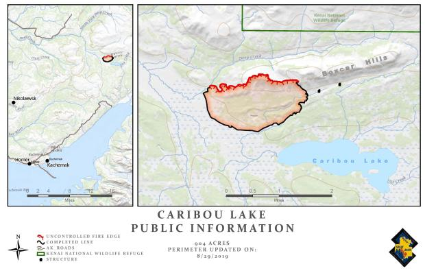 Caribou Lake Fire Map - August 29, 2019