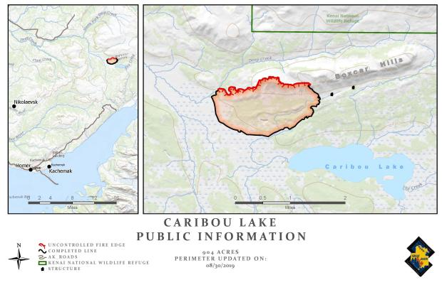 Caribou Lake Fire Map - August 30, 2019