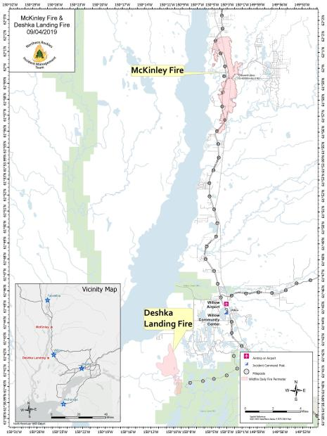 Map showing the location of the McKinley and Deshka Landing Fires
