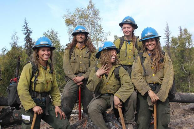 Longest-Haired Members of the Prineville Hotshots at the Deshka Landing Fire 1. Photo: Mike McMillan - DNR