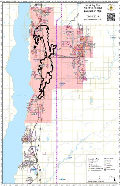 McKinley Fire Evacuation Map 09-02-19