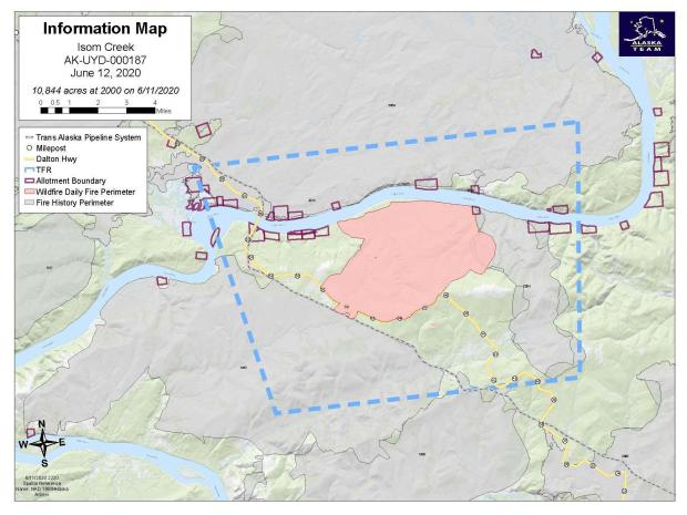 This is a map showing the perimeter of the Isom Creek Fire, on June 12, 2020.