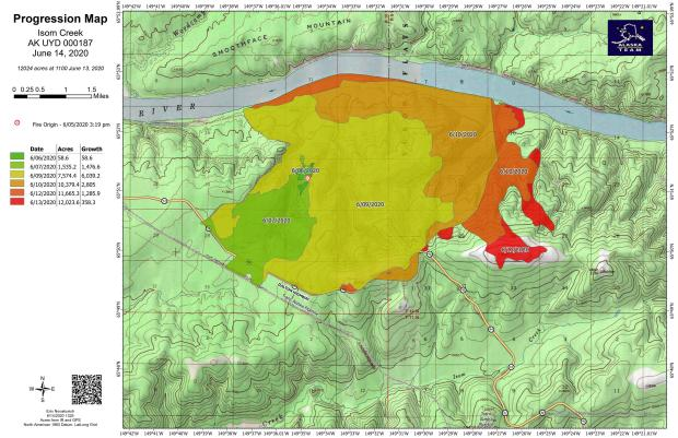 This colorful topographic map shows an overlay of various colors that correlate to acreage gains in the time period from the fire's origin, June 5, 2020, through June 13, 2020.