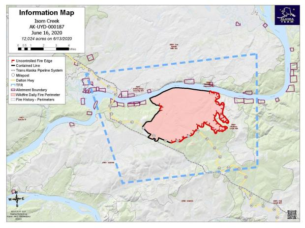 This is a map showing the perimeter of the Isom Creek Fire on June 16, 2020.