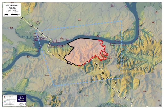 This is a map showing the perimeter of the Isom Creek Fire on June 17, 2020.