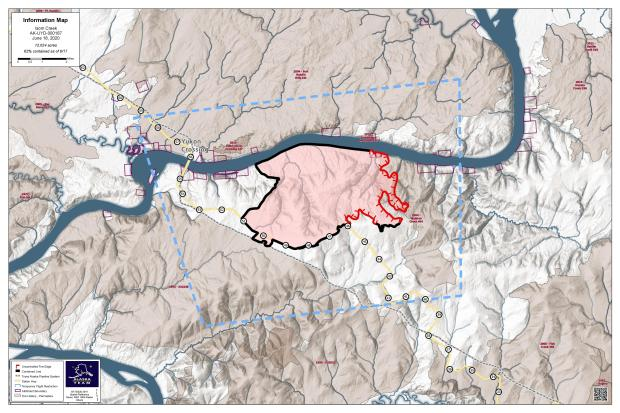 This is a map showing the perimeter of the Isom Creek Fire on June 18, 2020.