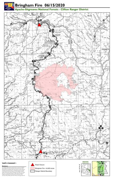 Map of the Bringham Fire area on June 15