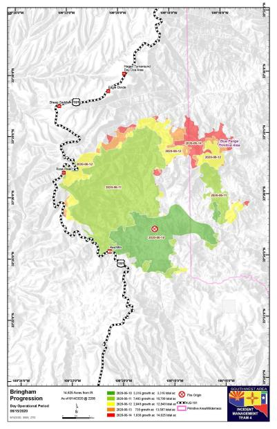 Map showing progression of the Bringham Fire from June 10 to June 14