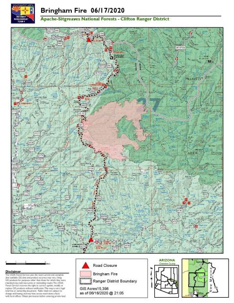 map of the Bringham Fire for June 17