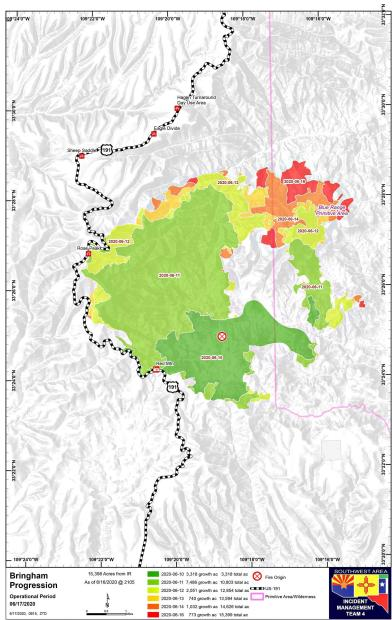 Map showing progression of the Bringham Fire from June 10 to June 16