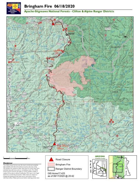 map of the Bringham Fire for June 18