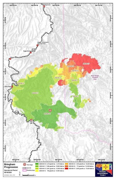 Map showing progression of the Bringham Fire from June 10 to June 17