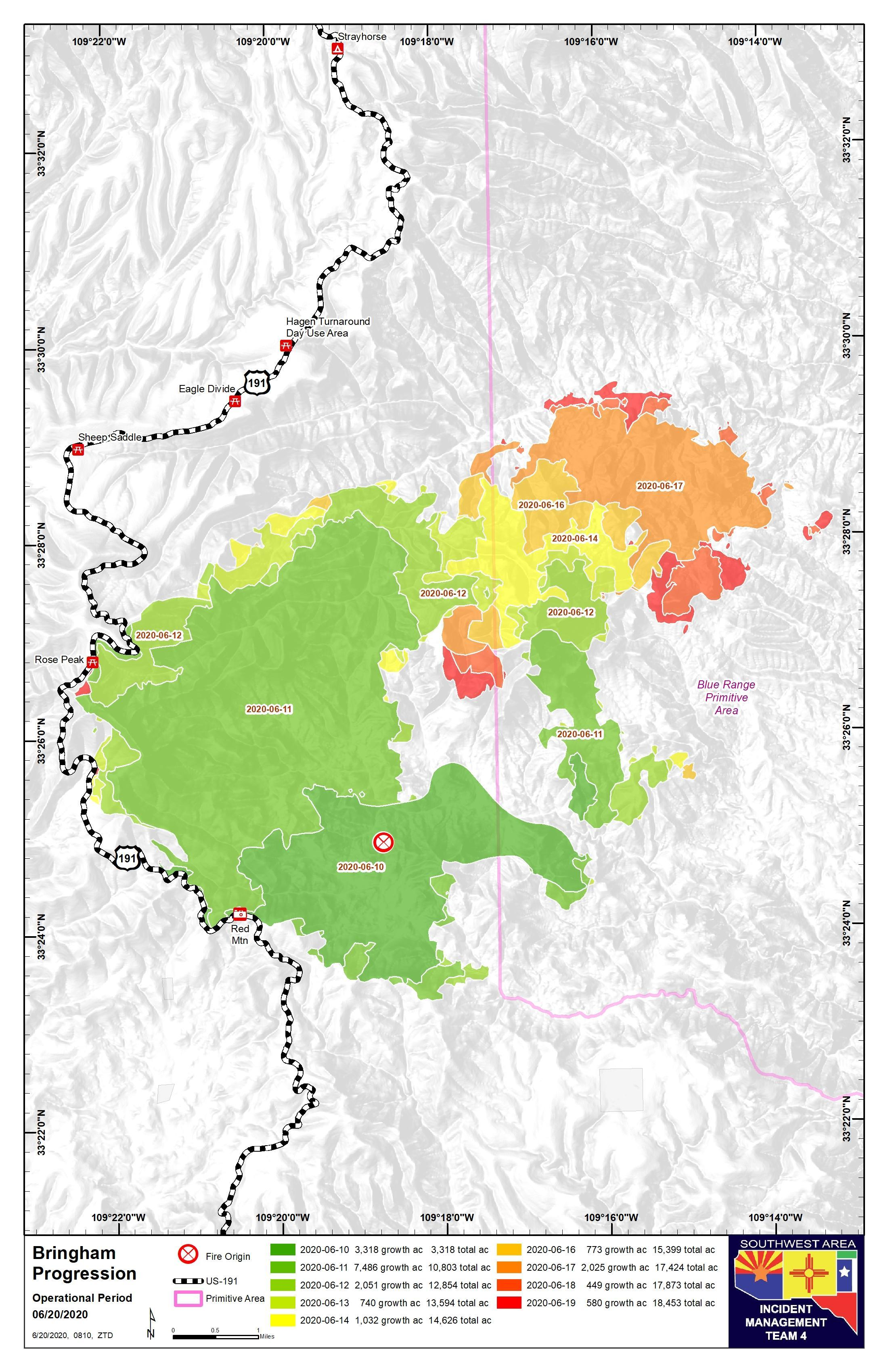 June 20 Bringham Fire Progression Map