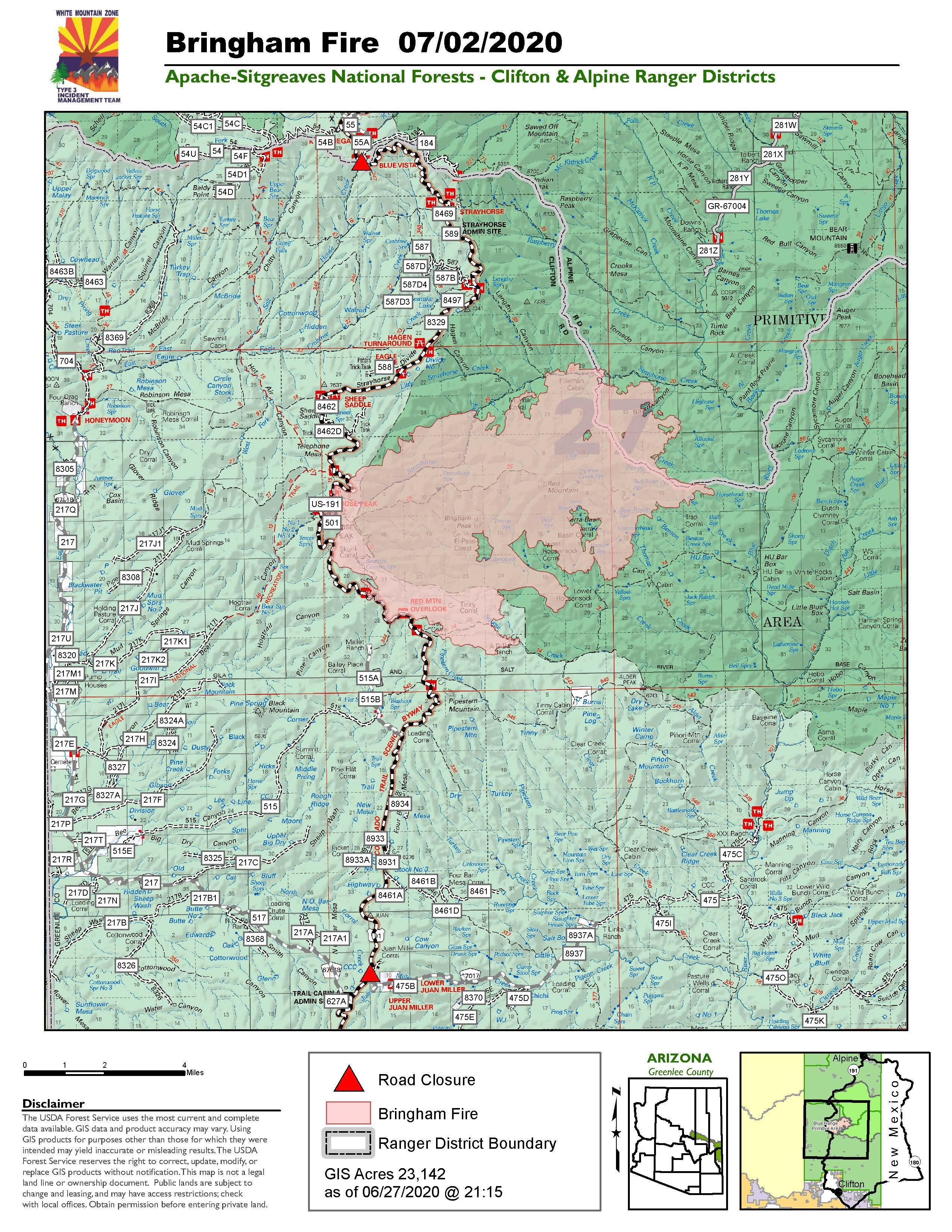 July 02 Bringham Fire Map