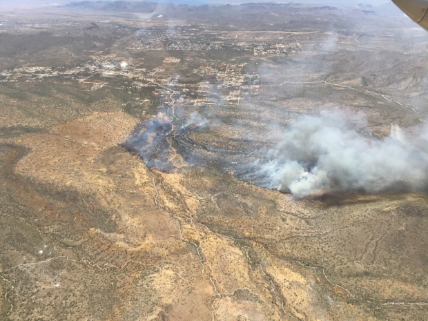 The Central Fire as seen from the air looking towards the southwest.