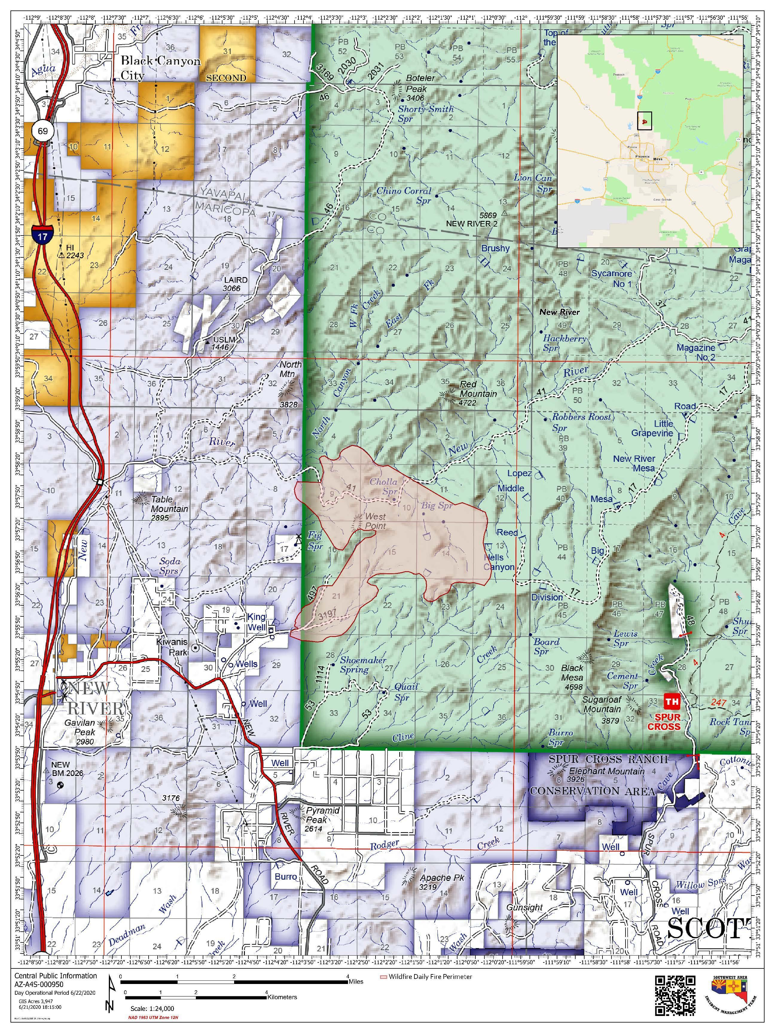 Public Map of the Central Fire for June 22, 2020