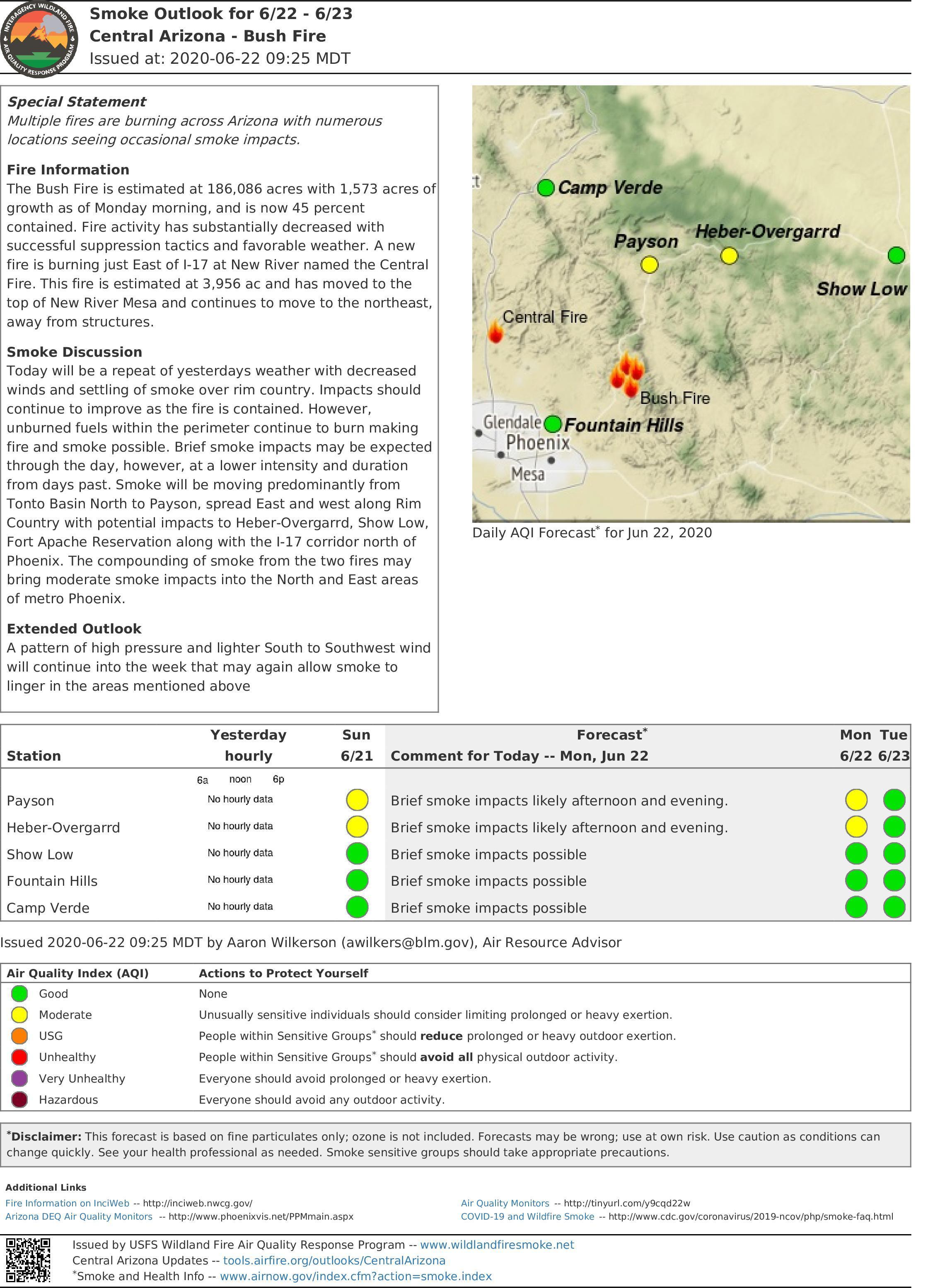 Smoke Report for the Bush and Central Fires for June 22-23. A pdf of this document is downloadable