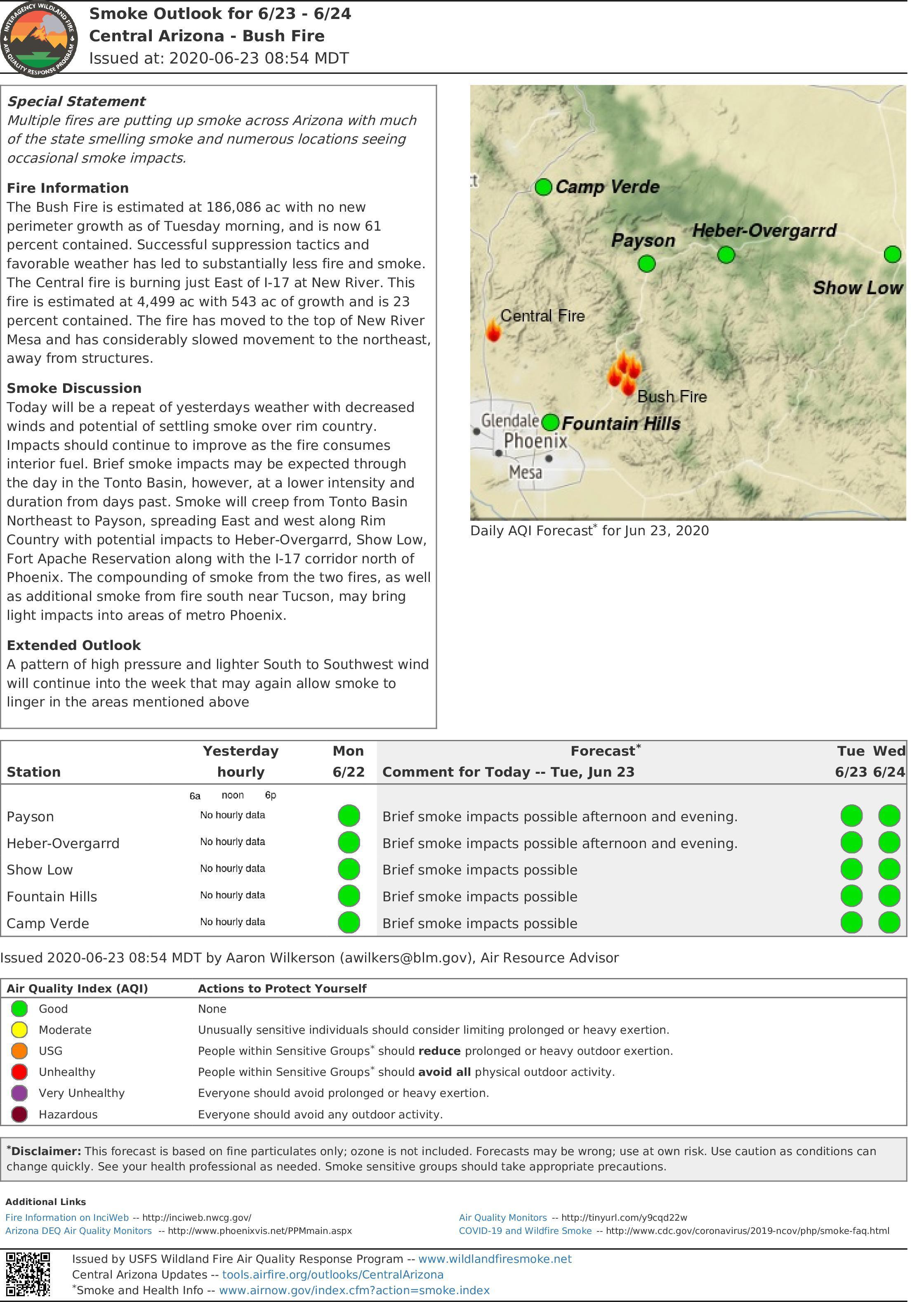 Smoke Report for the Bush and Central Fires for June 23-24. A pdf of this document is downloadable
