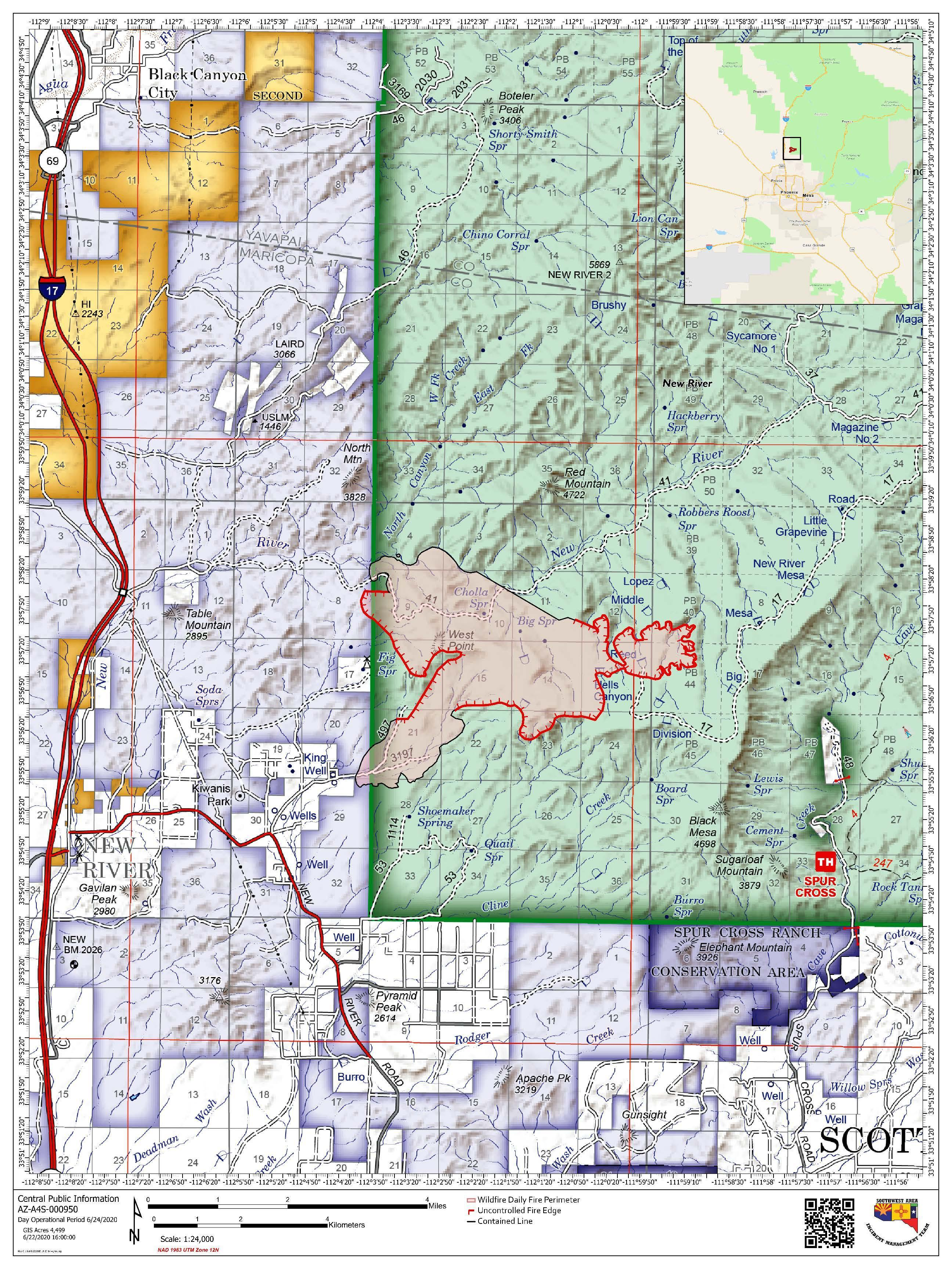 Public Map of the Central Fire for June 23, 2020. A pdf of this map is downloadable