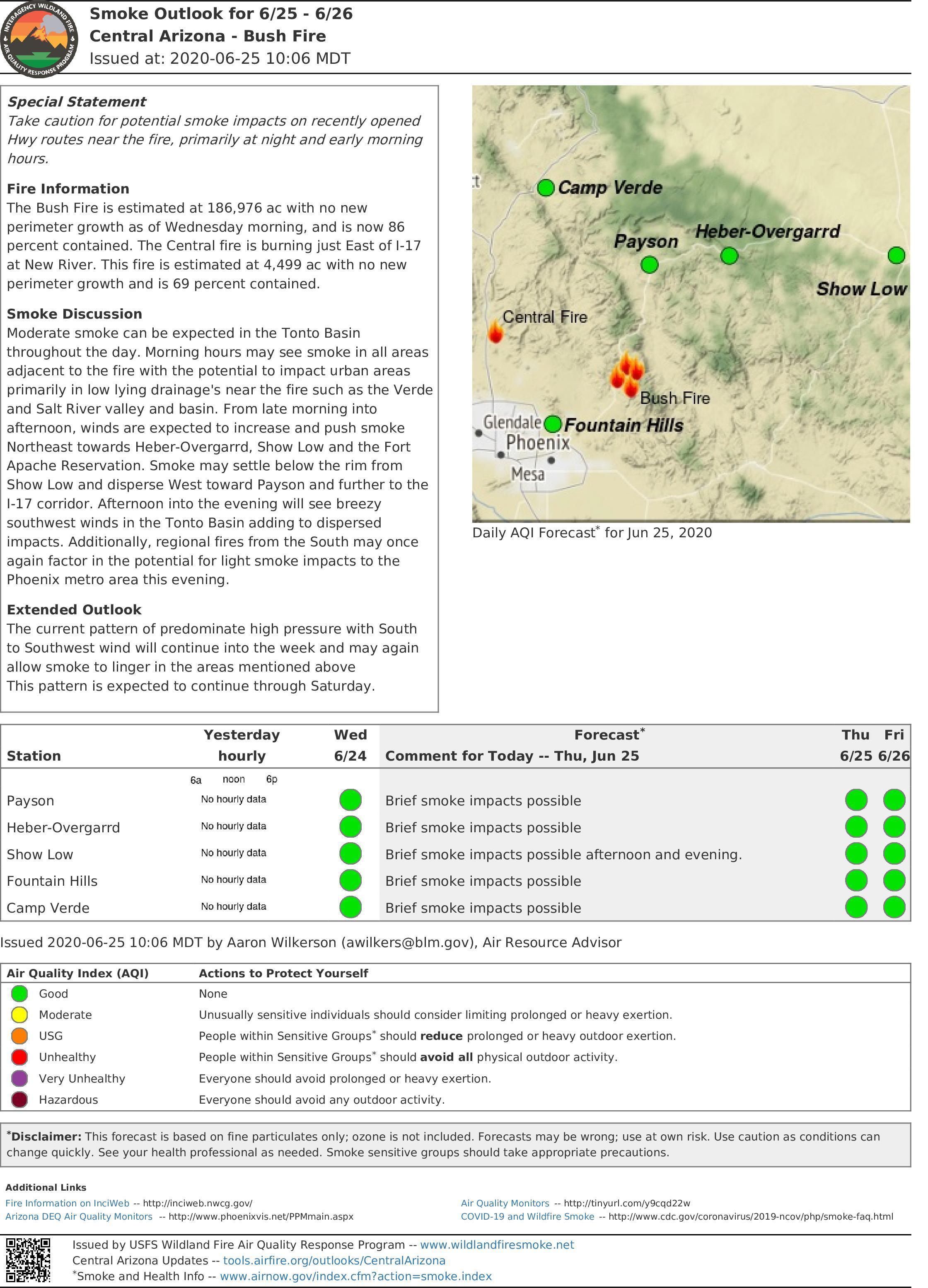 Smoke Outlook Map for 6-25 & 6-26 - full report is available under the Annoucement tab on this page.