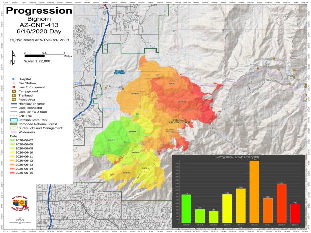 A map of the Bighorn Fire showing each days fire growth with a different color