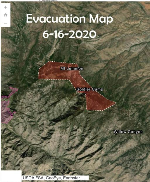 Evacuation area is in red