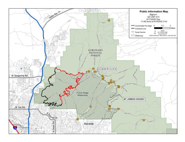 Black klines mean completed fire line that is secure. Red lines mean fire line is not yet secure