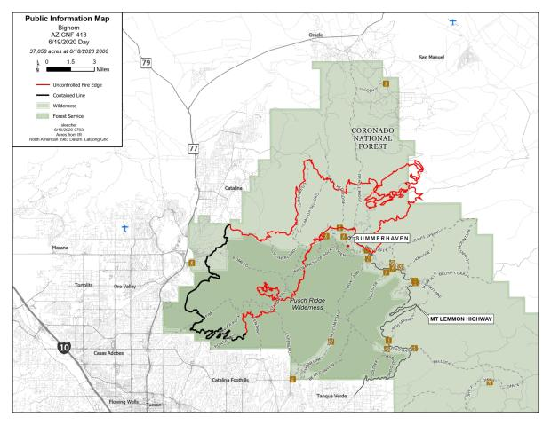 The perimeter of the fire is in red line, containment line is black public lands are green