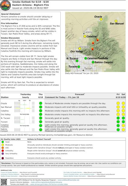 A text and graphic document showing red yellow and green areas which rate air quality red bad yellow marginal and bad for some groups and green no problems. All for the communities impacted by the Bighorn Fire